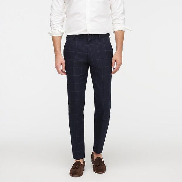 MEN Ludlow Slim-fit glen plaid suit pant in Italian wool-linen