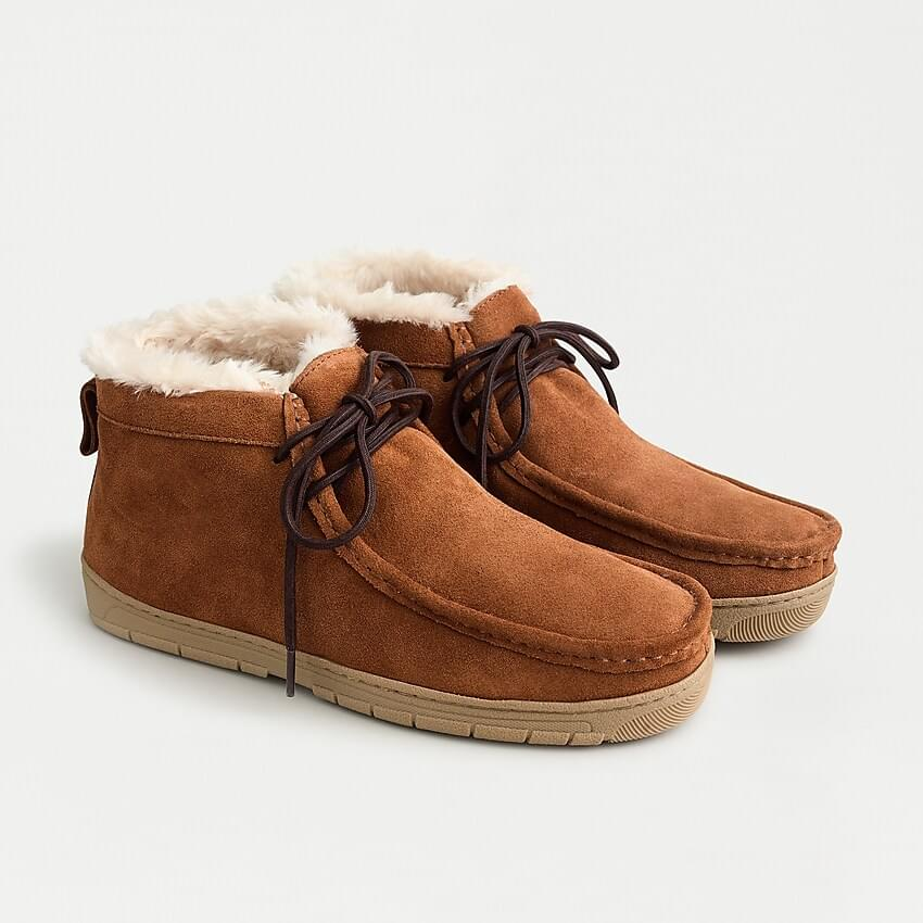 Men's Suede faux-shearling chukkas