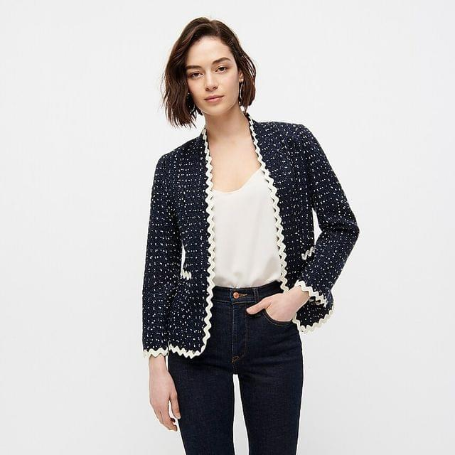 WOMEN Going-out blazer in navy spotted tweed