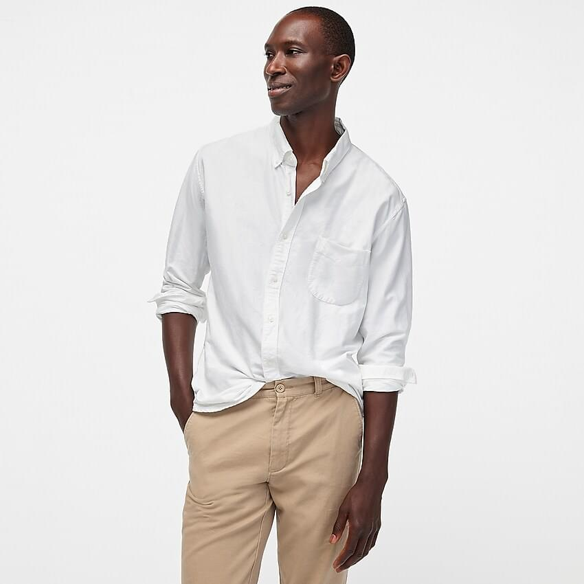 Men's Tall American Pima cotton oxford shirt with mechanical stretch