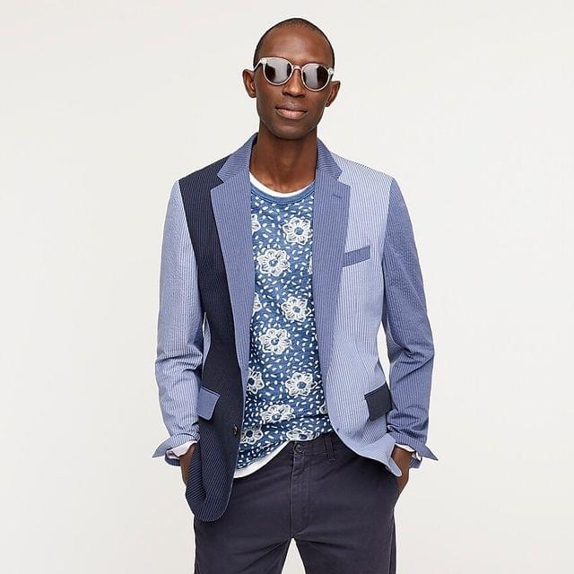 MEN Ludlow Slim-fit unstructured blazer in seersucker Portuguese cotton-linen