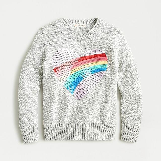 KIDS Girls' sweater with sequin heart