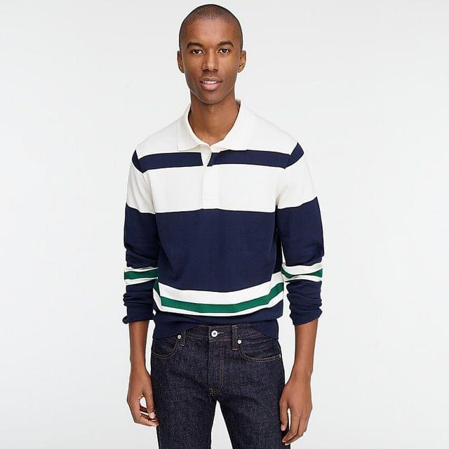 MEN Cotton rugby sweater in green-and-navy stripe