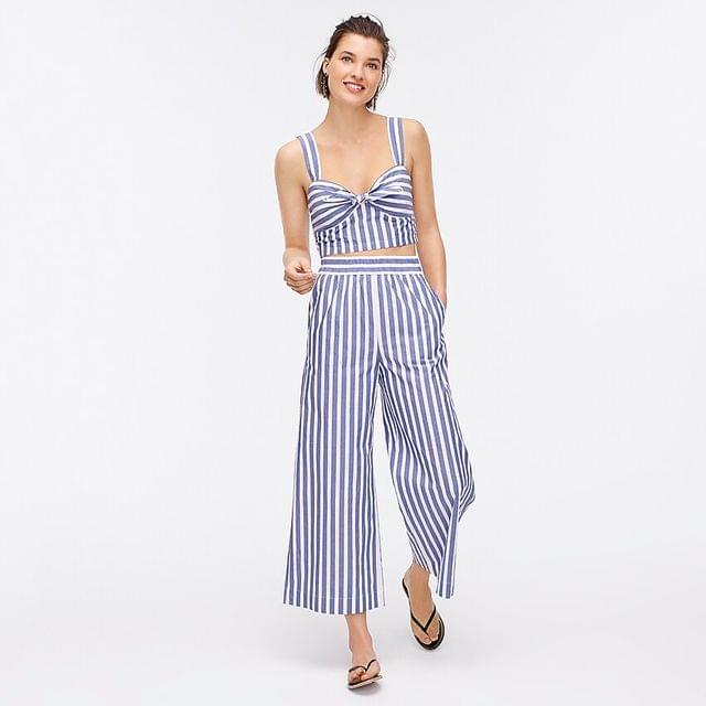 WOMEN Twist-front cropped top in awning stripe