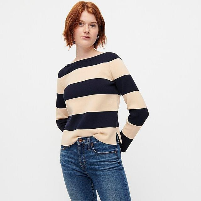 WOMEN Boatneck sweater in rugby stripe