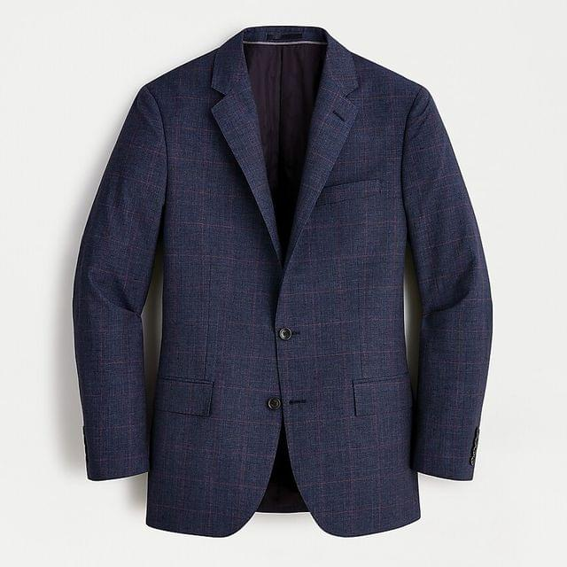 MEN Ludlow Slim-fit glen plaid suit jacket in Italian wool-linen