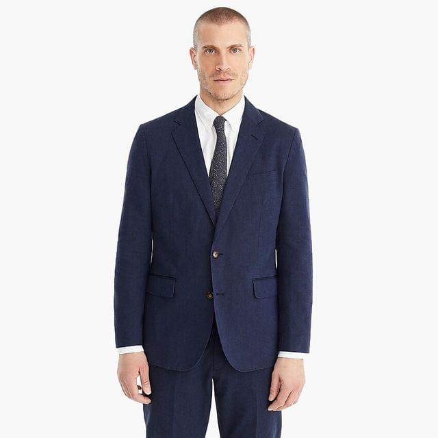 MEN Ludlow Slim-fit unstructured suit jacket in cotton-linen