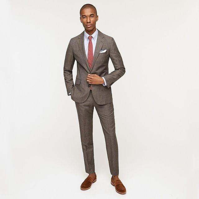 MEN Ludlow Slim-fit suit jacket in Italian wool-linen