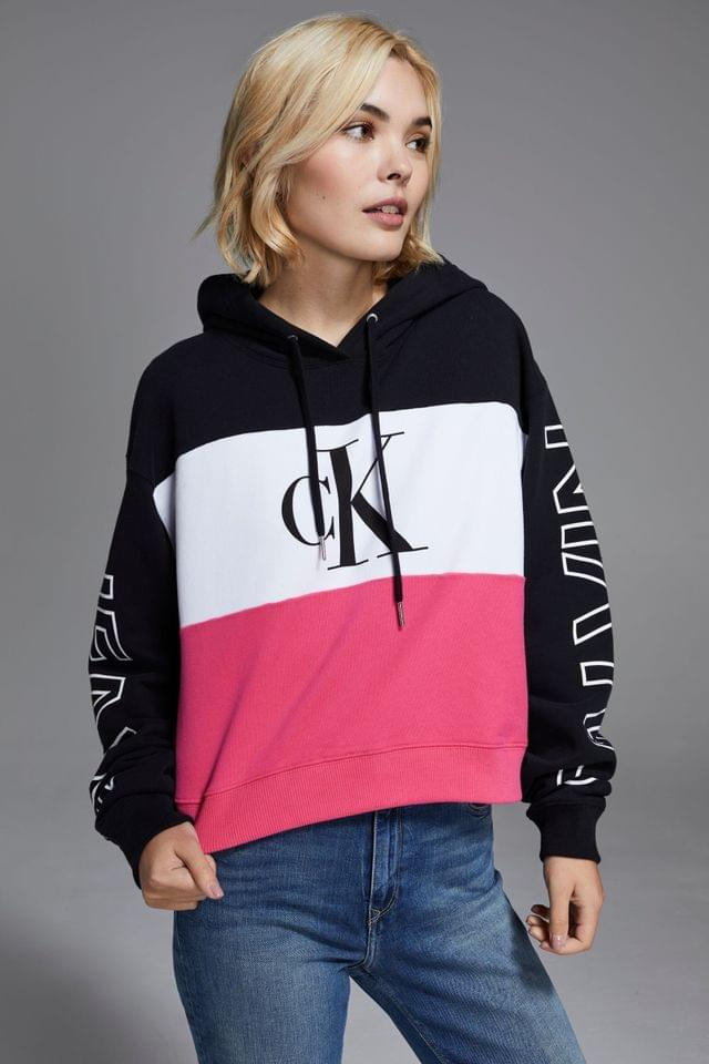 WOMEN Calvin Klein Jeans Blocking Statement Cropped Hoody