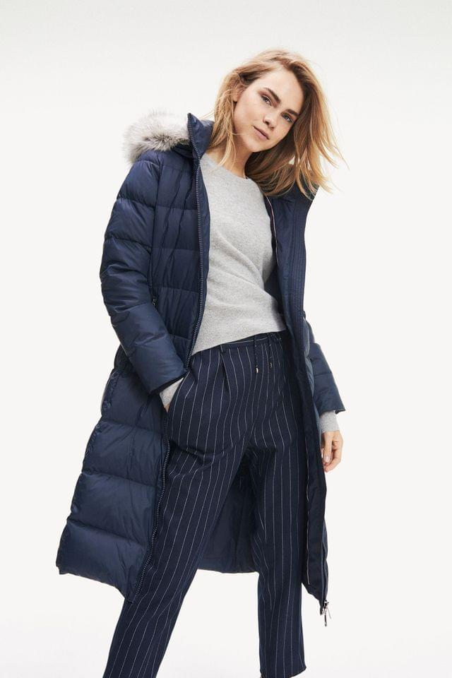 WOMEN Tommy Hilfiger Blue Tyra Maxi Longline Down Coat
