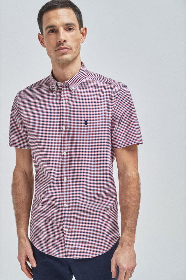 MEN Red Stretch Gingham Short Sleeve Shirt