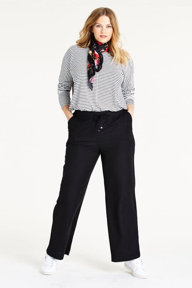WOMEN Simply Be Easy Care Linen Mix Regular Trousers