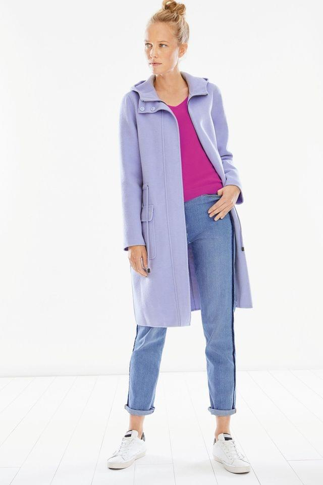 WOMEN Pure Collection Lilac Double Faced Parka Coat