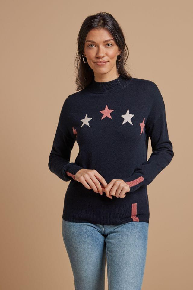WOMEN Navy Star Crew Neck Jumper