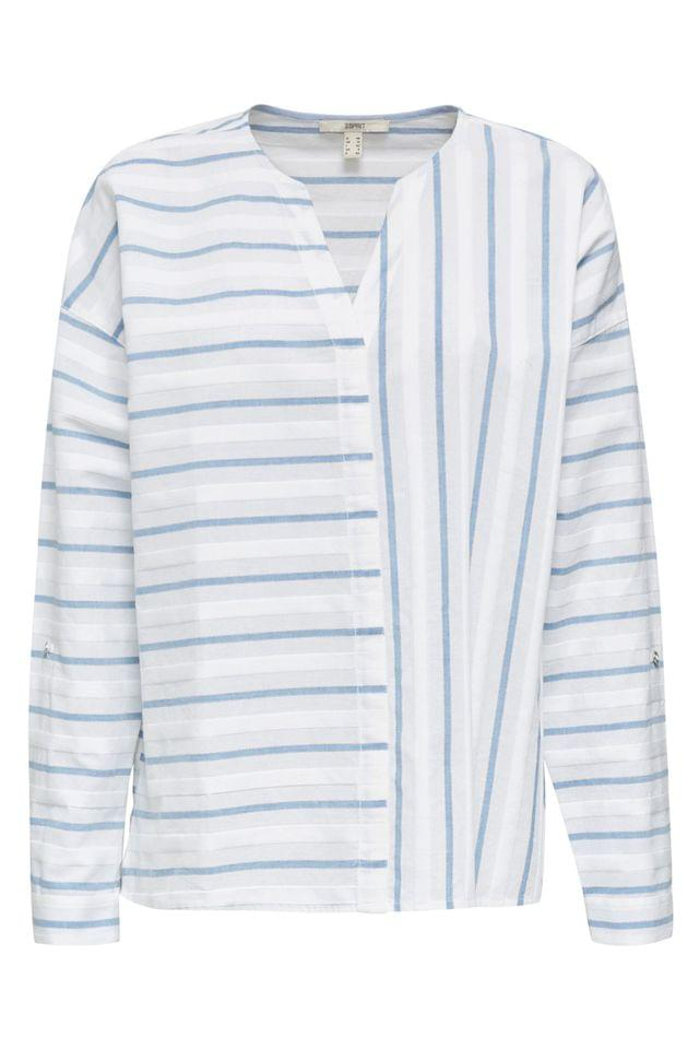 WOMEN Esprit White Long Sleeve Blouse With Stripes In Opposite Directions