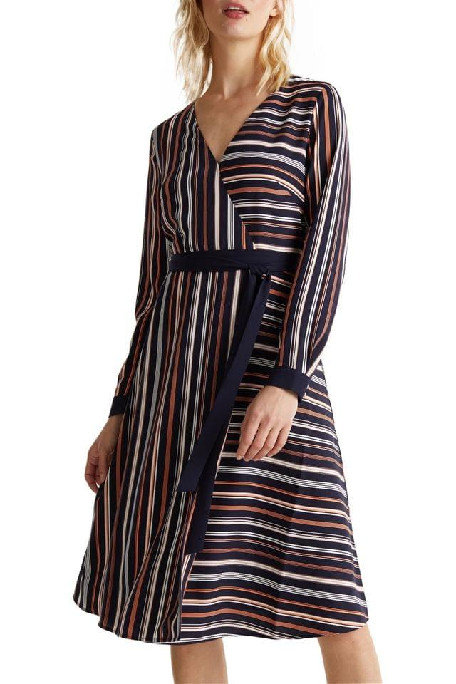 WOMEN Esprit Blue Wrap Tie Dress With Stripes In Opposite Directions