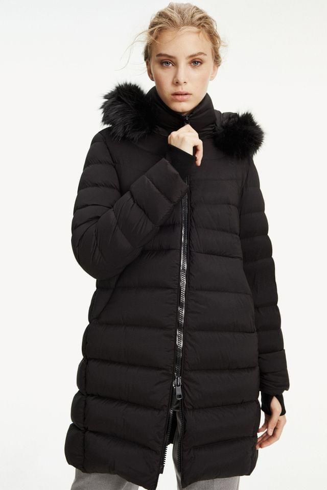 WOMEN Tommy Hilfiger Black Pamela Stretch Down Coat