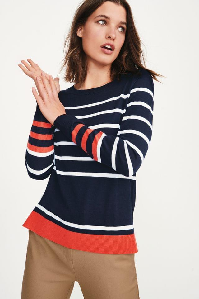 WOMEN Navy/Cream Stripe Crew Neck Jumper