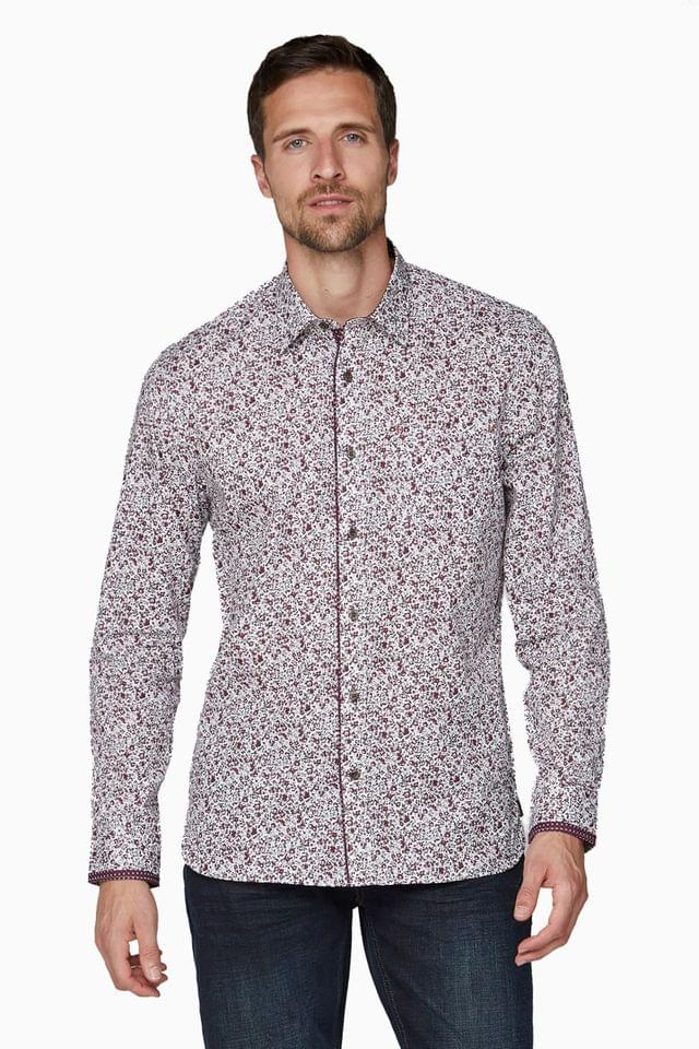MEN Jeff Banks Red Floral Design Print Tailored Fit Casual Shirt