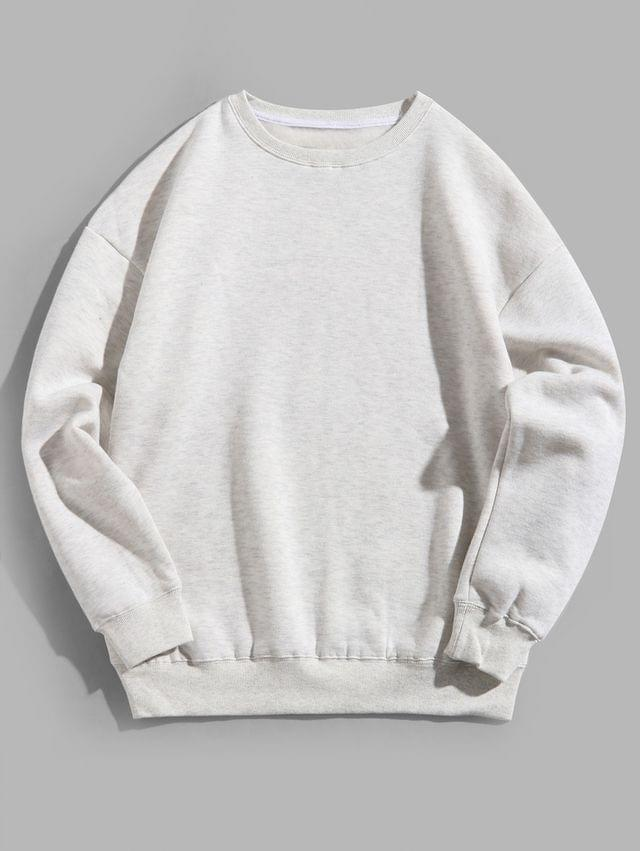MEN Solid Color Crew Neck Fleece Basic Sweatshirt - Light Gray 3xl