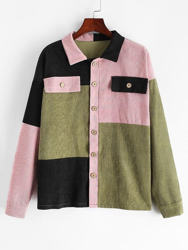 WOMEN Button Up Colorblock Corduroy Shirt Jacket - Multi M