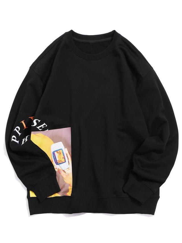 MEN Letter Embroidery Graphic Printed Casual Sweatshirt - Black S