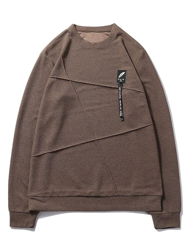 MEN Letter Print Applique Splicing Casual Sweatshirt - Coffee S