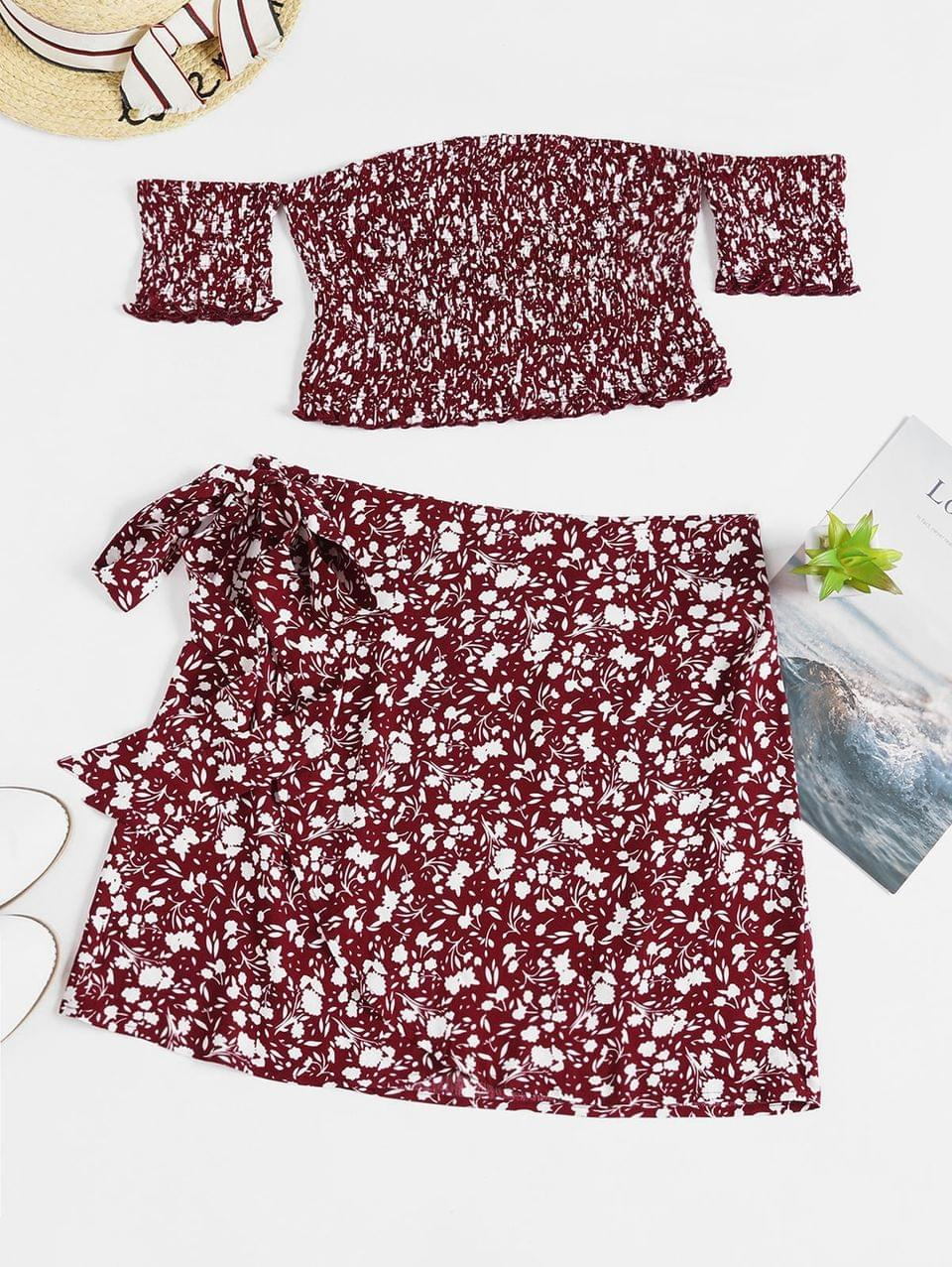 Women's Floral Smocked Top And Wrap Skirt Set - Red Wine L