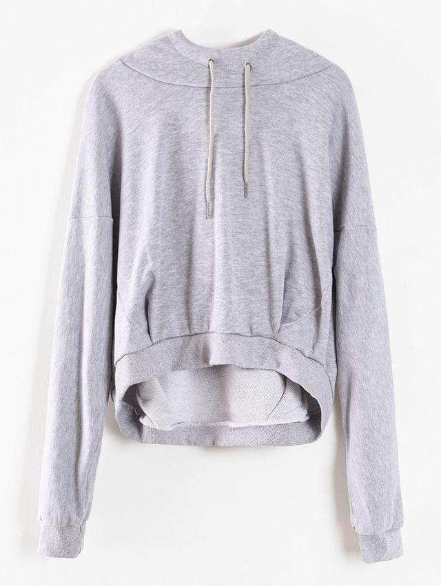 WOMEN Cropped Oversized Terry Hoodie - Light Gray L