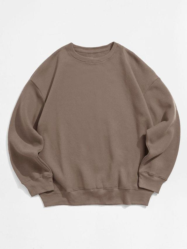 MEN Solid Color Crew Neck Fleece Basic Sweatshirt - Coffee 2xl