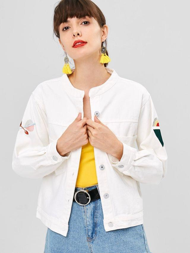 WOMEN Button Up Embroidered Patched Denim Jacket - White S