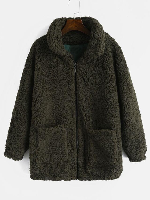 WOMEN Fluffy Faux Fur Winter Teddy Coat - Army Green Xl