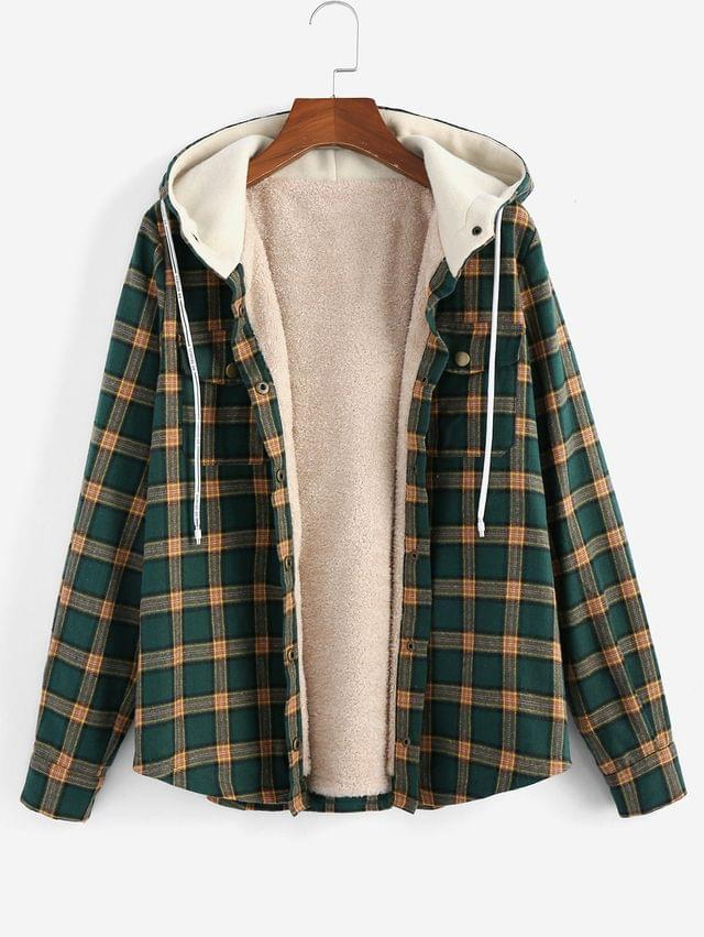 WOMEN Plaid Hooded Fluffy Lined Snap Button Jacket - Multi S