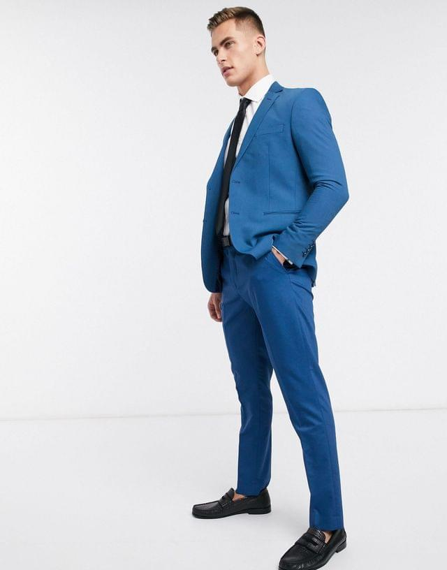 MEN boohooMAN skinny fit suit jacket in blue
