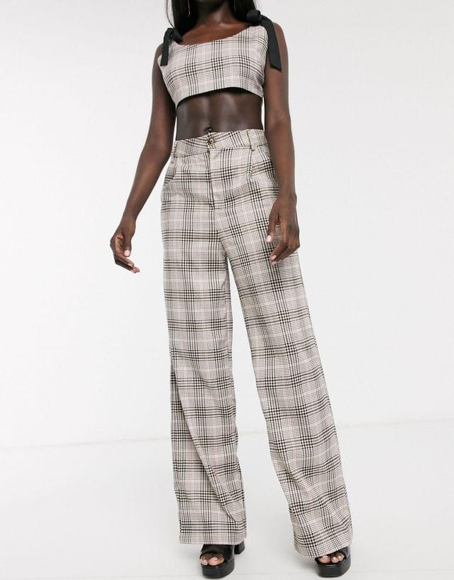 WOMEN In The Style x Fashion Influx wide leg tailored pants two-piece in check