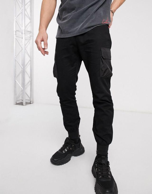 MEN boohooMAN cuffed cargo sweatpants with buckle waistband in black