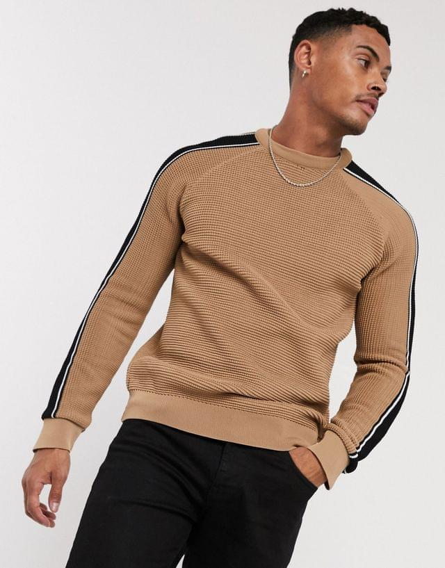 MEN boohooMAN arm taped detail in camel