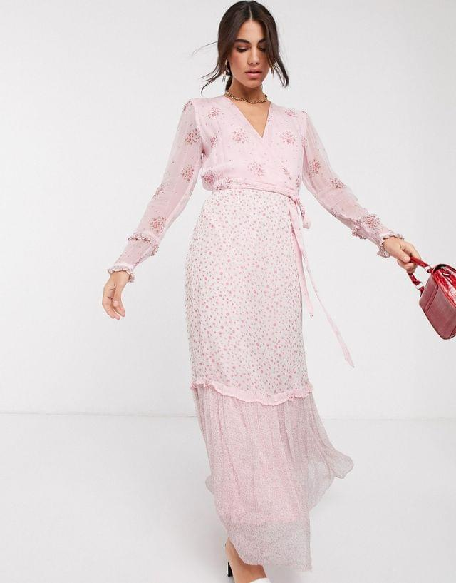 WOMEN Ghost avery georgette mixed floral print maxi dress in aurelia ditsy