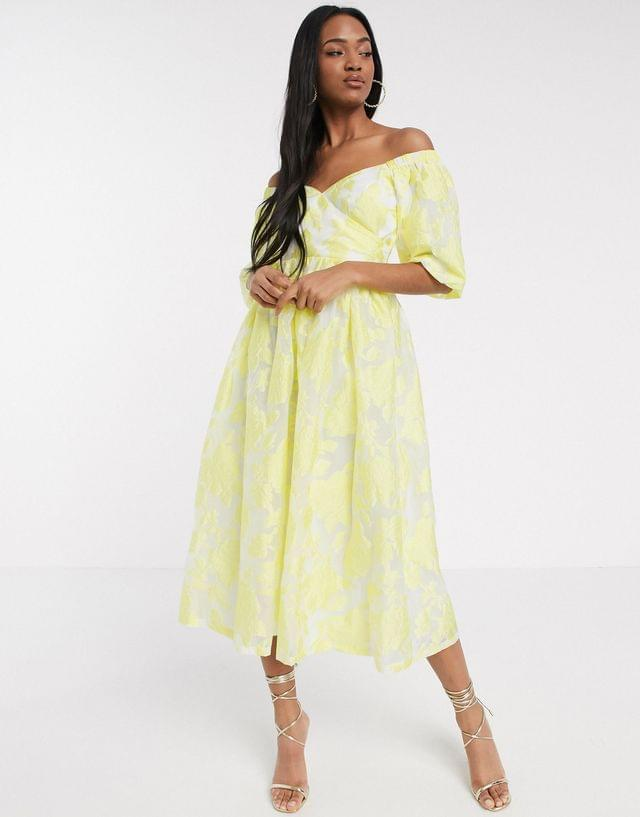WOMEN puff sleeve midi dress in floral organza with lace up back in yellow