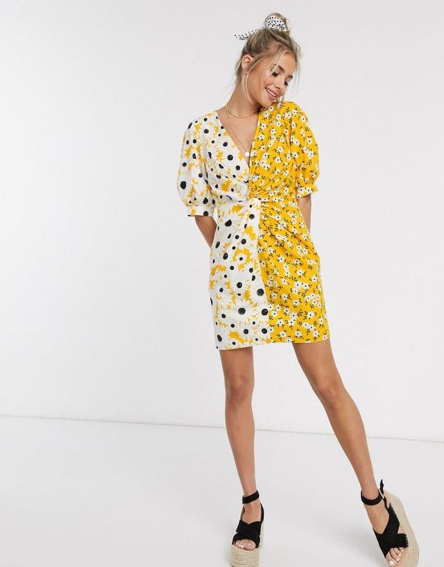 WOMEN cotton poplin twist mini dress with puff sleeves in mixed daisy floral print