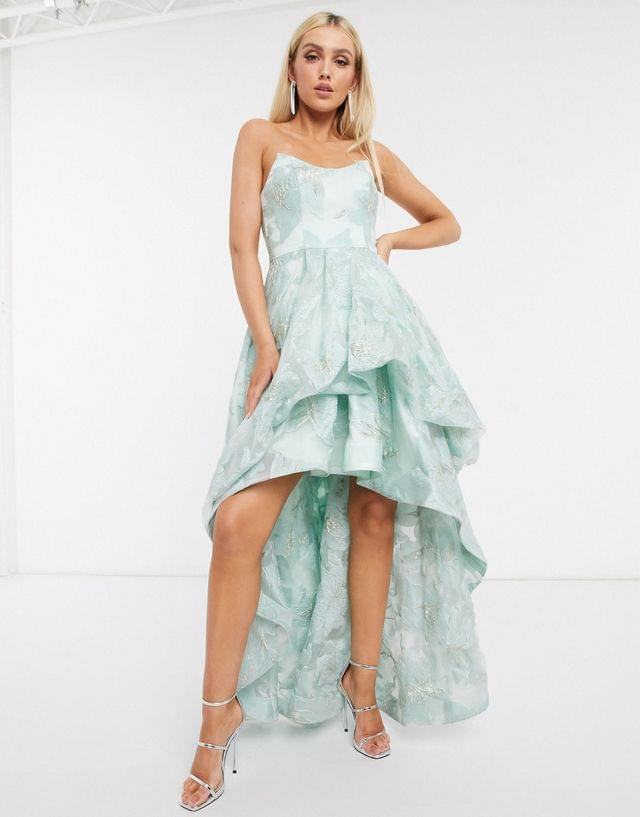 WOMEN Bariano organza high low dress in mint floral