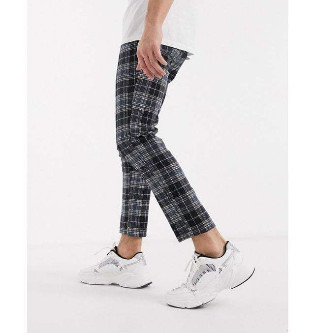 MEN boohooMAN wool look check smart cropped jogger in blue