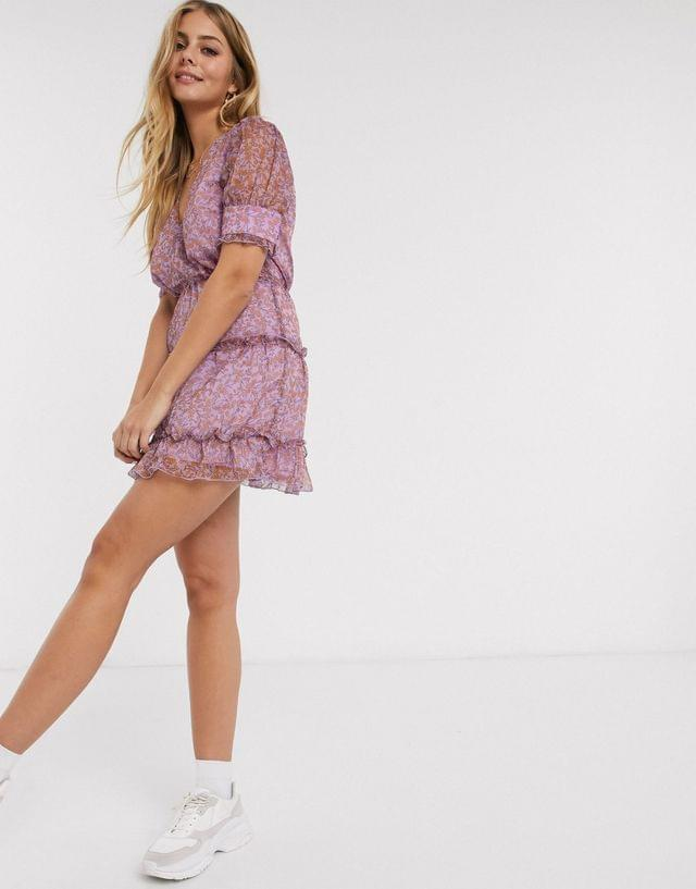 WOMEN The East Order talan printed tiered mini dress in violet meadows