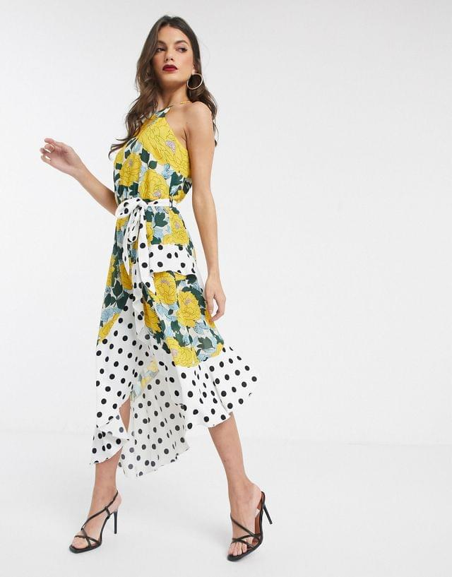 WOMEN Forever U Collection asymmetric dress in bright floral and polkadot mix