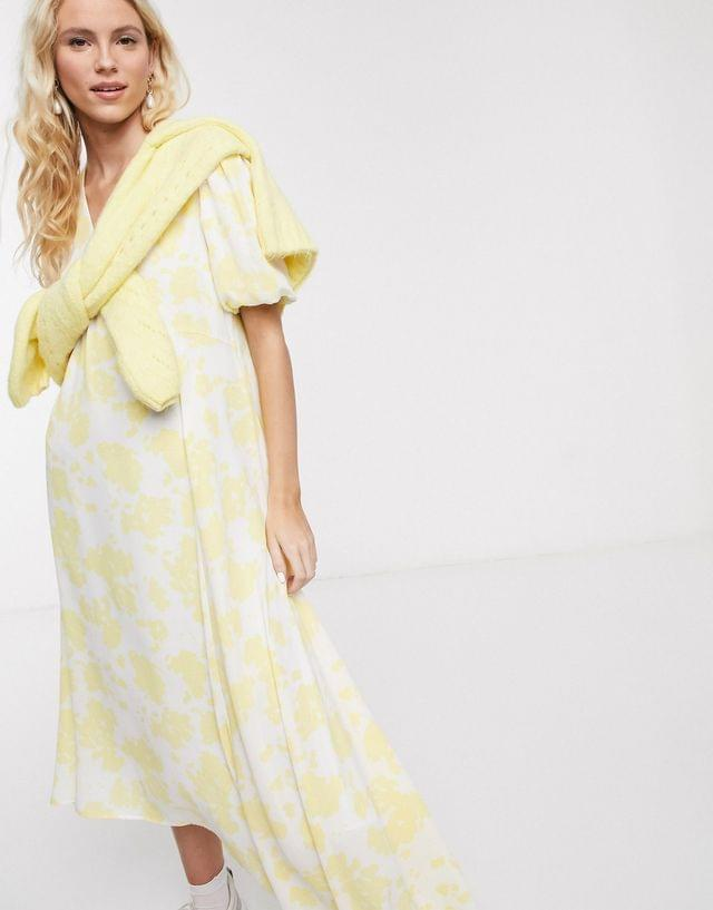 WOMEN Notes Du Nord orchid recycled polyester floral asymmetric midi dress in lemon flower