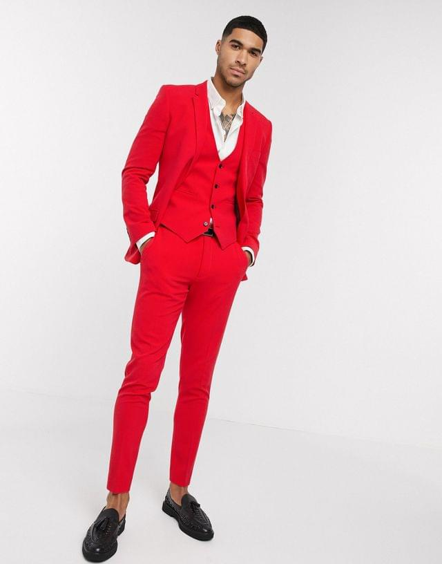 Men's super skinny suit suit vest in bright red in four way stretch