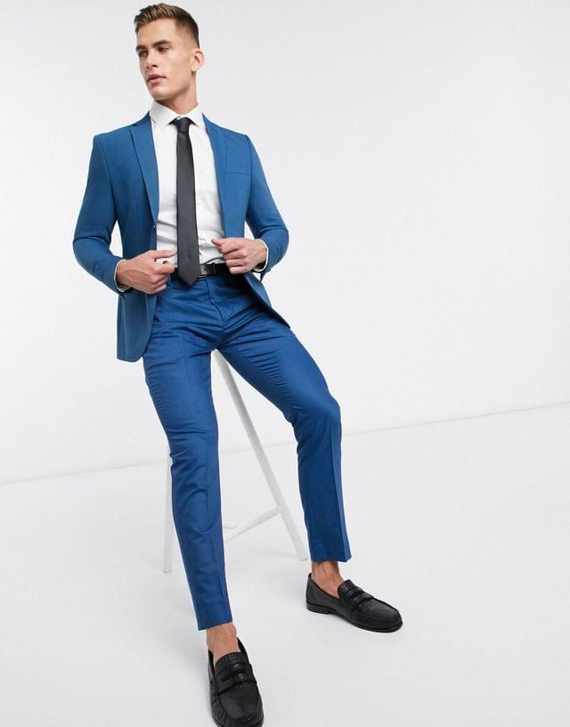 MEN boohooMAN skinny fit suit pants in blue