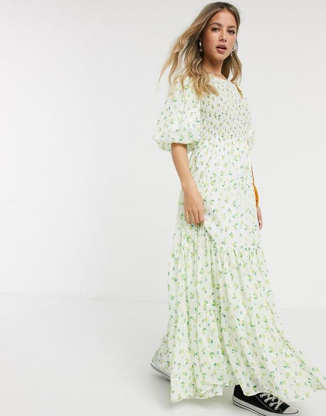 WOMEN shirred tiered maxi dress in ditsy floral print