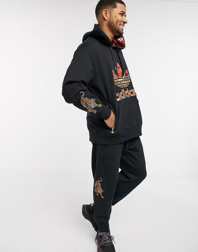 MEN adidas Originals chinese new year hoodie with gold trefoil logo