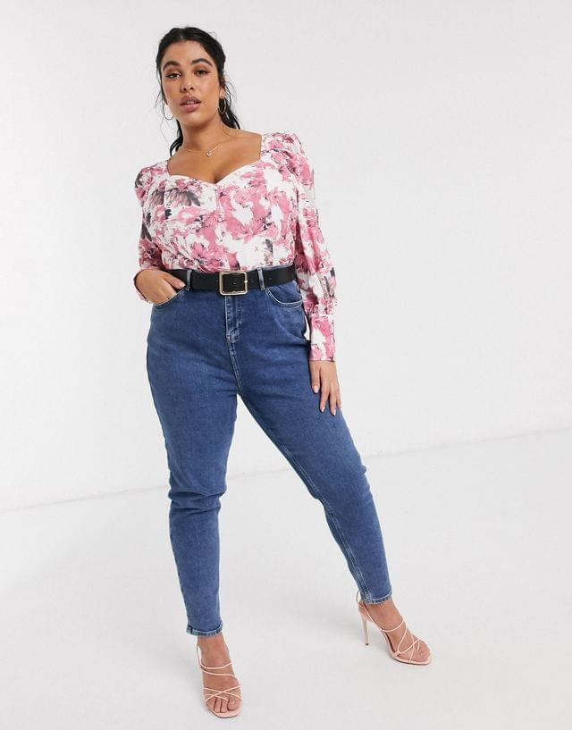 WOMEN In The Style Plus x Fashion Influx exclusive button detail bell sleeve body in pink floral print